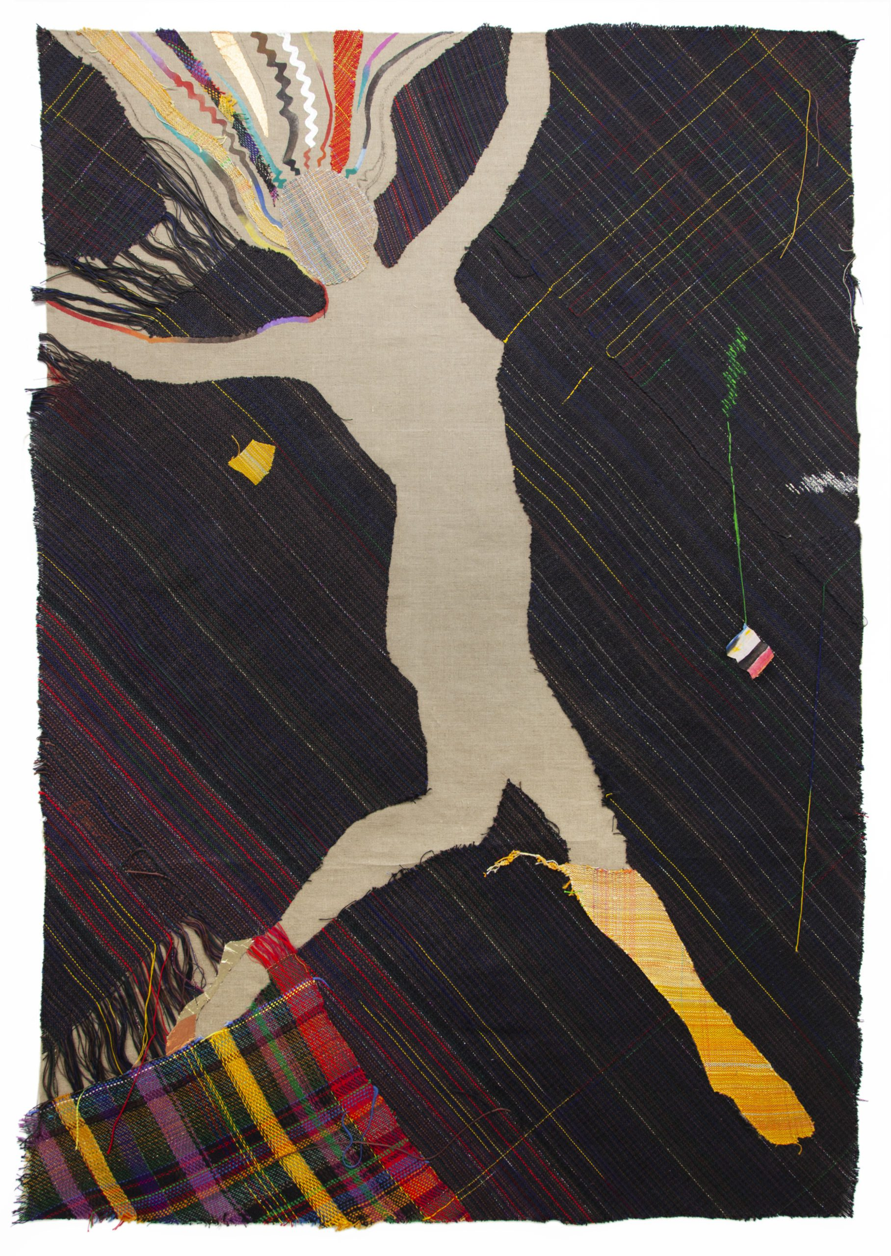 Emma Amos Star 76 x 52 inches (193 x 132.1 cm) Acrylic and hand-woven fabric on canvas 1982